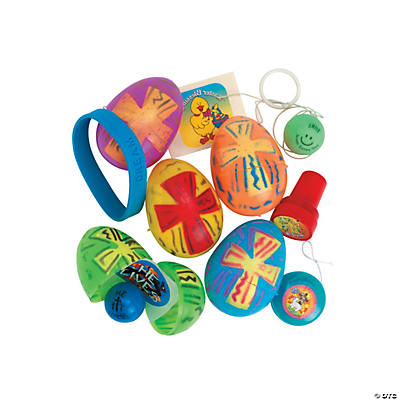 Religious Toy-Filled Bright Plastic Easter Eggs