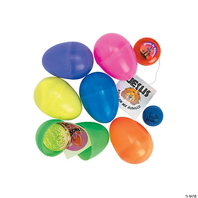 Religious Toy-Filled Plastic Easter Eggs - 24 Pc.