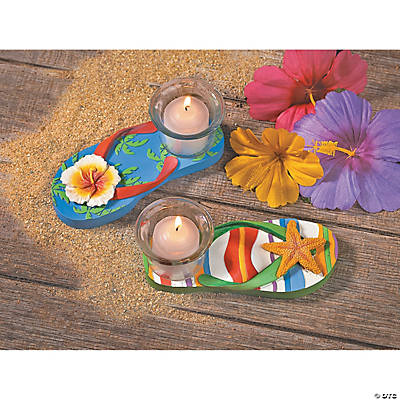 Resin Luau Flip Flop Tea Light Holders