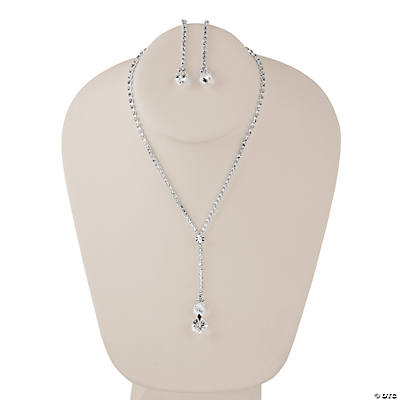 Rhinestone Drop Necklace with Earrings