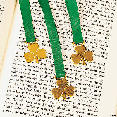 Ribbon Bookmarks with Shamrock Charm