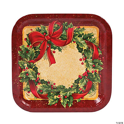 Ribbon Wreath Square Dinner Plates