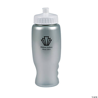 roaring 20s silver personalized plastic water bottles