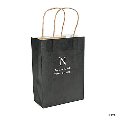 Roman Monogram Black Kraft Bags