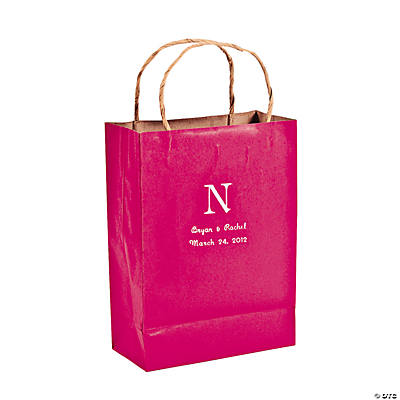 Roman Monogram Hot Pink Kraft Bags