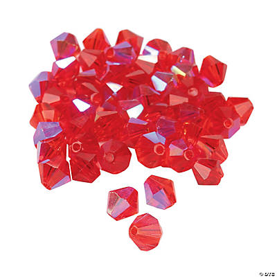 Ruby Aurora Borealis Crystal Bicone Beads - 8mm