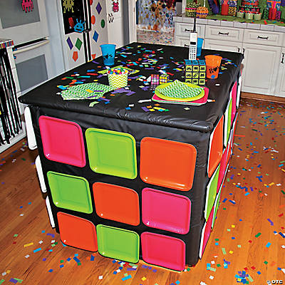 80 s magic cube table idea for 80 birthday decoration ideas