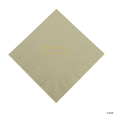 Sage Green Personalized Luncheon Napkins with Gold Print