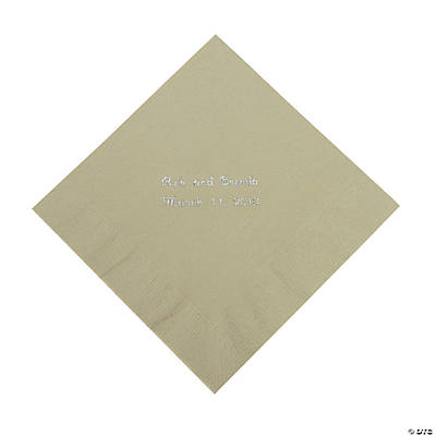 Sage Green Personalized Luncheon Napkins with Silver Print