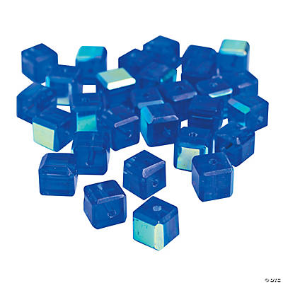 Sapphire Cube AB Cut Crystal Beads - 8mm