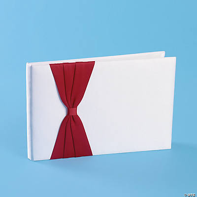 Satin Guest Book with Red Bow
