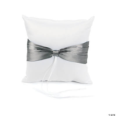 Satin Wedding Ring Pillow with Silver Bow Accent