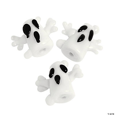 Scary Ghosts Lampwork Beads - 17mm