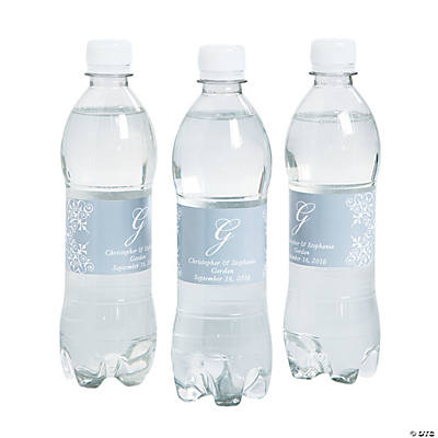 Script Monogram Silver Water Bottle Labels
