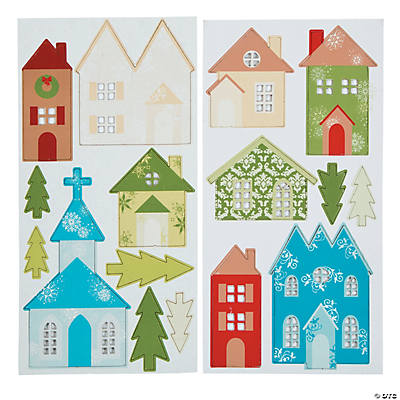 Self-Adhesive Village Chipboard Die Cuts