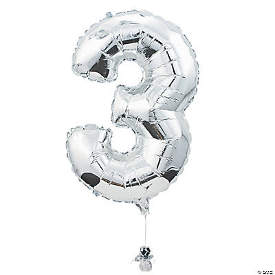 """3"" Shaped Mylar Number Balloon"