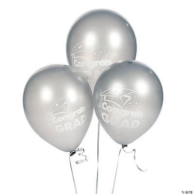 Silver congrats grad 11 latex balloons for Silver cloud balloons