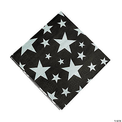 Silver Foil Star Luncheon Napkins