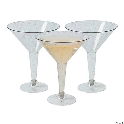 Silver Glitter Martini Glasses