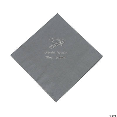 Silver Graduation Personalized Luncheon Napkins with Silver Print