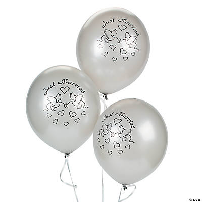 "Silver Latex ""Just Married"" Balloons"