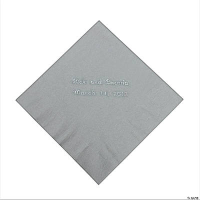Silver Personalized Beverage Napkins with Silver Print
