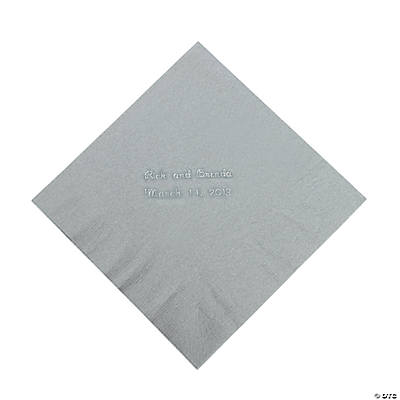 Silver Personalized Luncheon Napkins with Silver Print