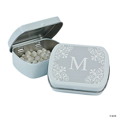 Silver Personalized Monogram Mint Tins