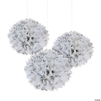 Silver Polka Dot Tissue Pom-Pom Decorations with Grommet