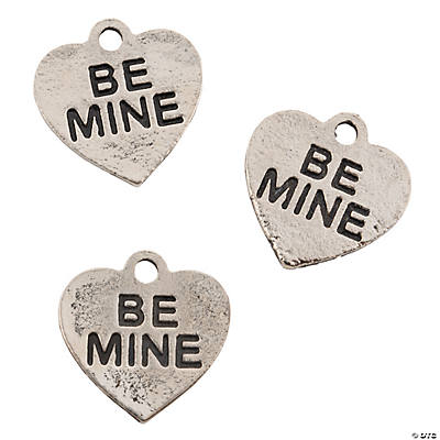"Silvertone ""Be Mine"" Valentine Charms"
