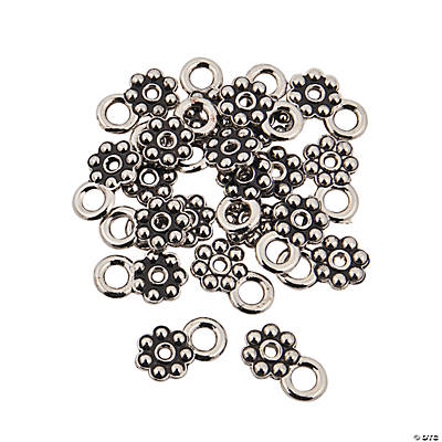 Silvertone Daisy Spacers with Loop