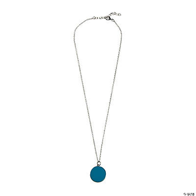 Silvertone Disc Enamel Necklace