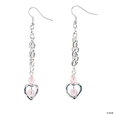 Silvertone Heart Earrings Craft Kit