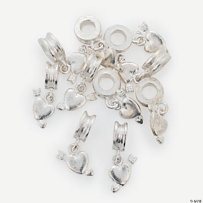 Silvertone Large Hole Dangle Heart Beads - 22mm