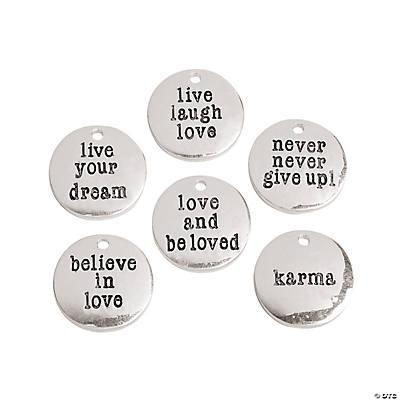 Silvertone Metal Inspirational Sayings Charms