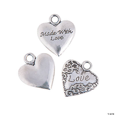 "Silvertone Metal ""Made with Love"" Charms"