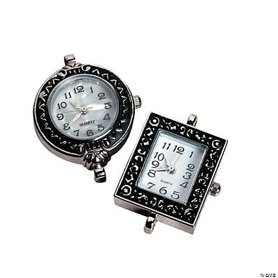 Silvertone Metal Round & Rectangular Watch Face Set