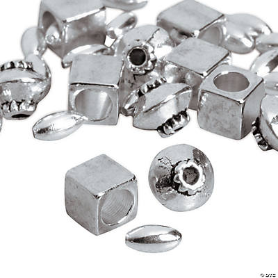 Silvertone Square, Oval & Bicone Beads - 2mm - 4mm