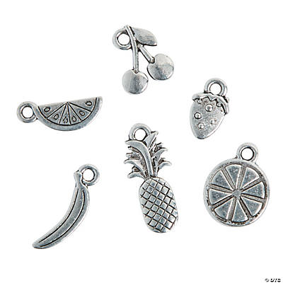 Silvertone Summer Fruit Charms