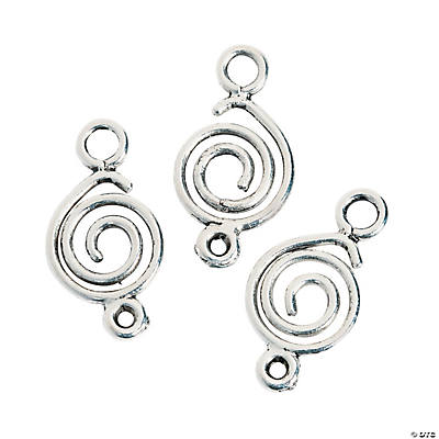 Silvertone Swirl Connector Charms