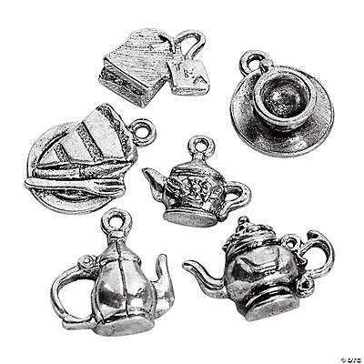 Silvertone Tea Lover Charm Assortment