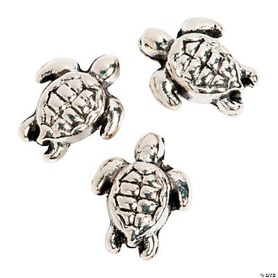 Silvertone Turtle Spacer Beads - 8mm
