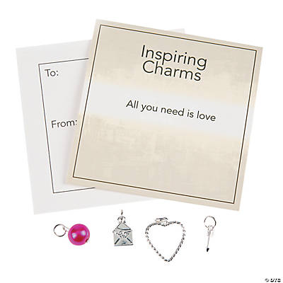 Silvertone Valentine Charms with Inspirational Tag