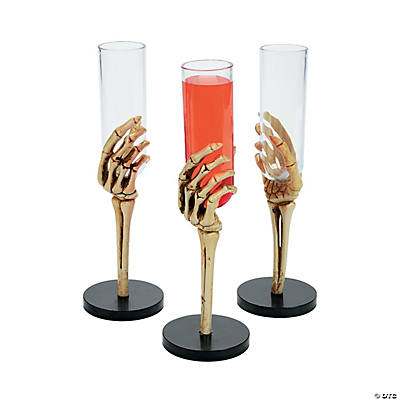 Skeleton Hand Glasses. These creepy plastic glasses will make guests take a second look when they reach for a drink! These frightful cups are sure to add some bone-rattling fun to beverages at a Halloween bash or swashbuckling pirate party. 2 oz. CupsReviews: