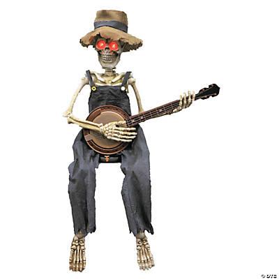 skeleton playing banjo animated halloween decoration