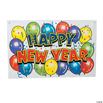 Small Happy New Year Bright Vinyl Banner