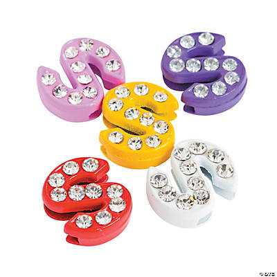 Small Rhinestone Letter Slide Charms - S