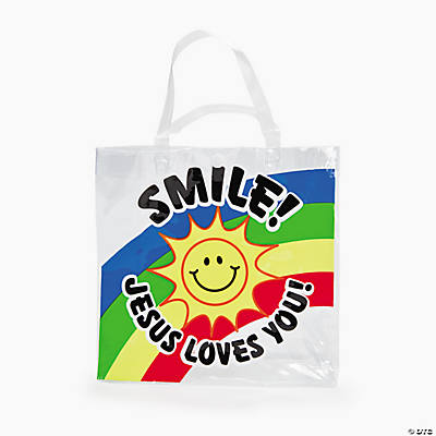 "Small ""Smile! Jesus Loves You!"" Tote Bags"