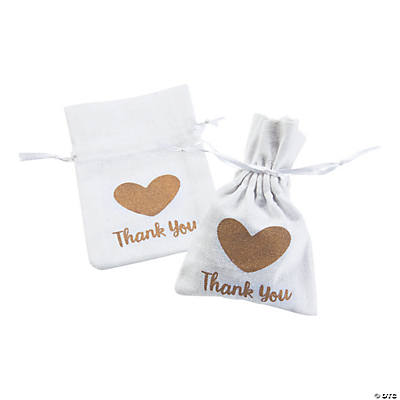 Small Thank You Drawstring Fabric Favor Bags