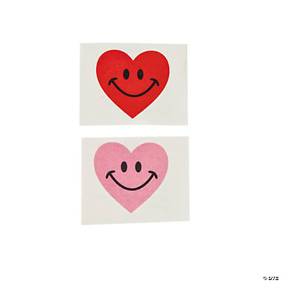 Smile Face Heart Glitter Tattoos